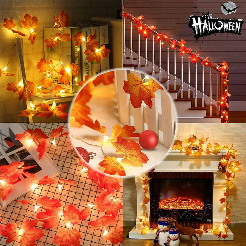 30LED automne décoration fleurs artificielles chaîne lumières érable feuilles lumière à piles pour la maison décoration de fête de noël