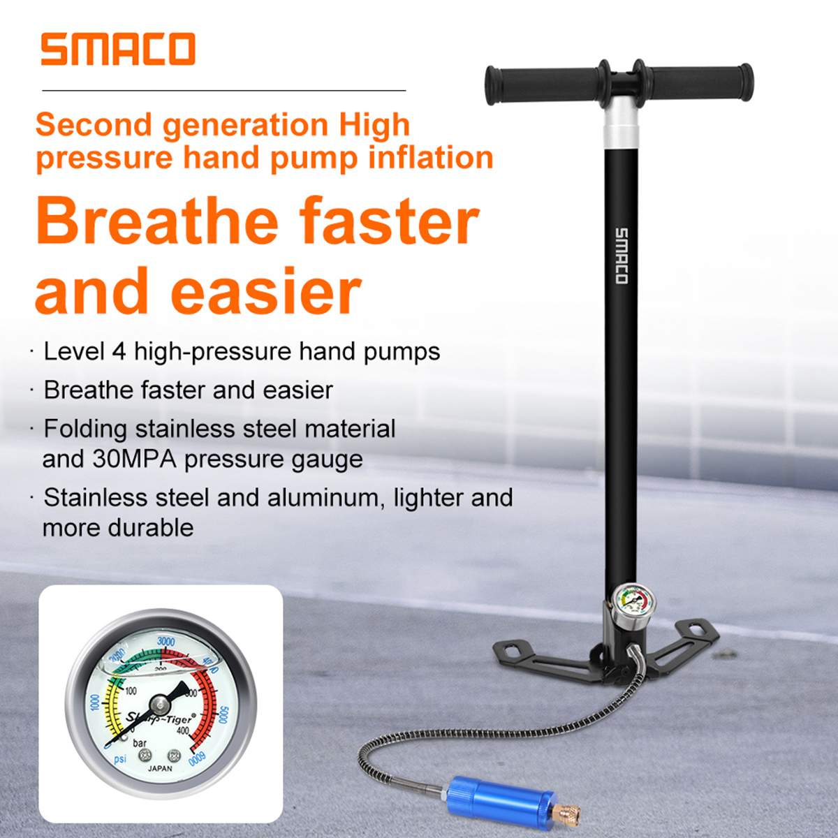 SMACO Second Generation 30Mpa High Pressure Air Diving Hand Pump Scuba Diving Cylinder Oxygen Tank Mini Compressor