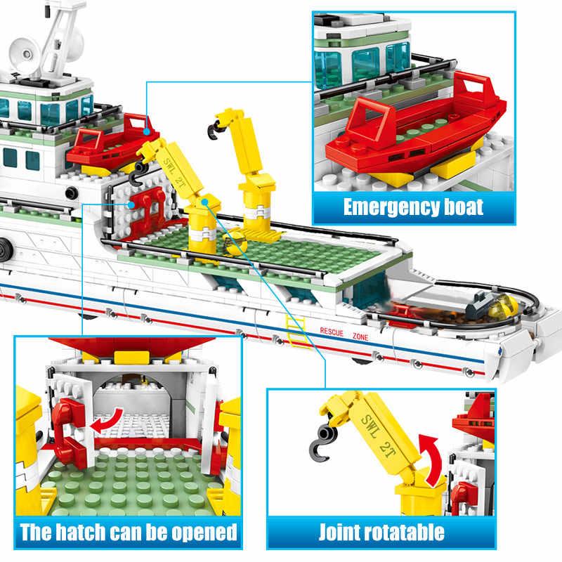 SEMBO 893PCS City Polizei Montage Schiff Modell Bausteine Military Notfall Rettungs Boot Zahlen Bricks Kinder Spielzeug