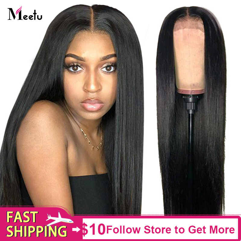 Straight Lace Front Human Hair Wigs 150% Density Peruvian 13x4  Lace Frontal Wigs For Women Remy Meetu Hair Wigs
