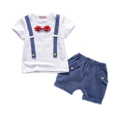 New Summer Baby Boys Clothes Suit Children Cotton Striped T Shirt Striped Shorts 2Pcs/sets Toddler Formal Costume Kids Tracksuit striped drop shoulder formal shirt