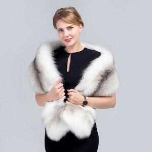 Image 4 - MS.MinShu bufanda de piel de zorro grande de lujo piel de zorro Natural estola piel auténtica de zorro chal de bolsillo Vestidos de Noche de moda