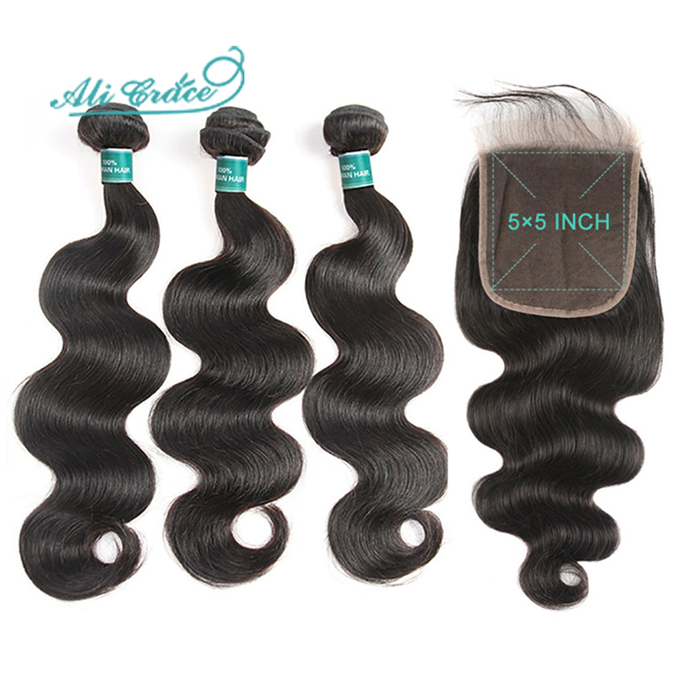 Ali Grace Hair Brazilian Body Wave 3 Bundles With 5x5 Lace Closure Human Hair Bundles with Closure Remy Hair Middle Free Part-in 3/4 Bundles with Closure from Hair Extensions & Wigs