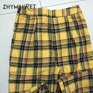 Image 5 - ZHYMIHRET Pantalon taille haute jaune à carreaux, Pantalon dété pour Femme, ample, fermeture éclair sur le côté, collection décontracté