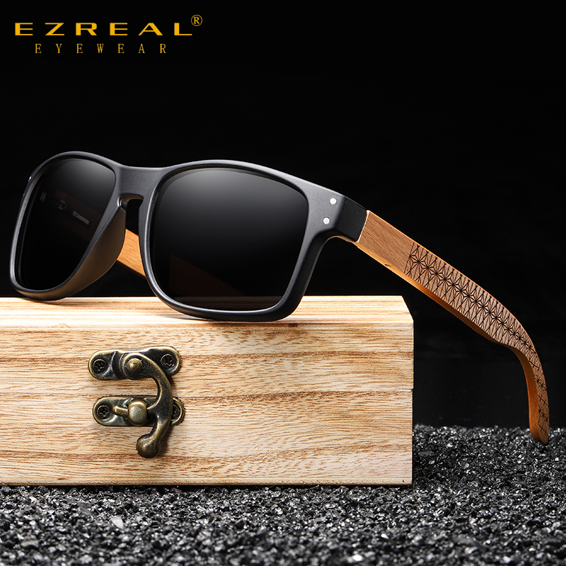 EZREAL брендовые дизайнерские солнцезащитные очки ручной работы из бука, мужские поляризованные очки, уличные солнцезащитные очки для вожден...