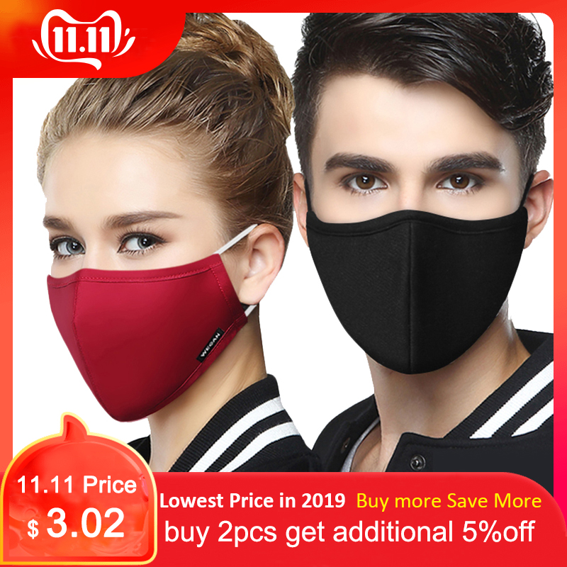 Kpop Cotton Anti Dust Flu Face Mouth Mask For Winter Running With Carbon Filter Medical KN95 Anti PM2.5 Black Mask On The Mouth