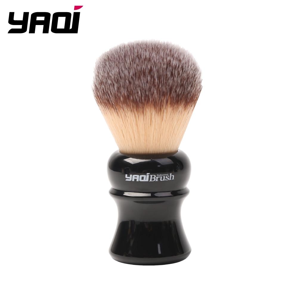 Yaqi 24mm Black Handle Yellow Synthetic Hair Knot Wet Shaving Brush