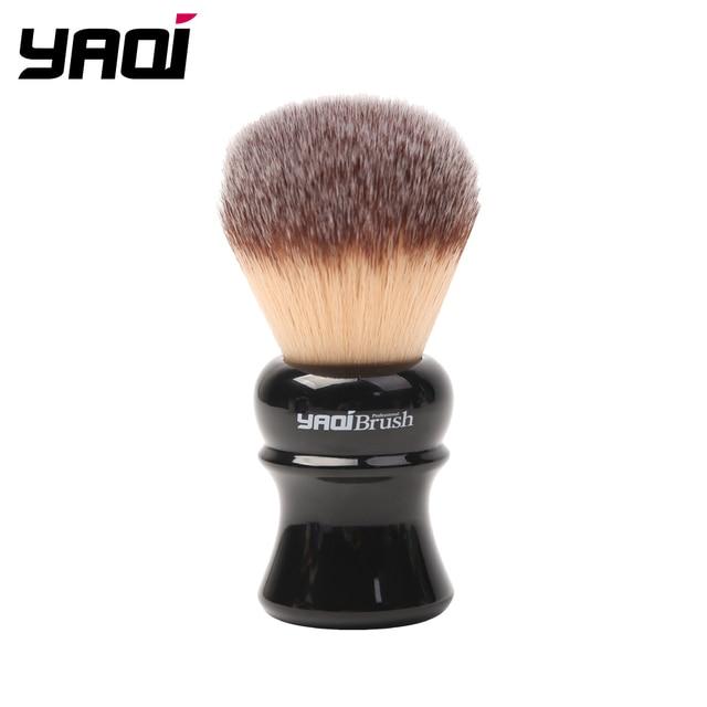 Yaqi pincel de barbear sintético com punho preto, 24mm, amarelo, cabelo sintético, molhado