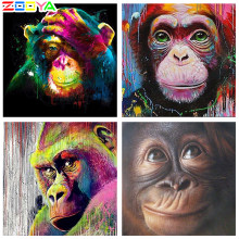 Zooya diamante bordado gorila macaco colorido animal pintura diamante ponto cruz quadrado strass mosaico bk1343(China)