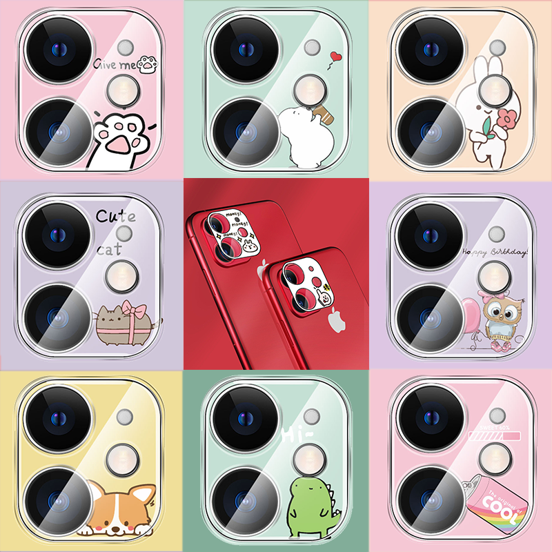 For iPhone 11 Pro MAX Camera Case Full Protective Cover Cute Cartoon Back Camera Lens Screen Protector Film Case For iPhone 11