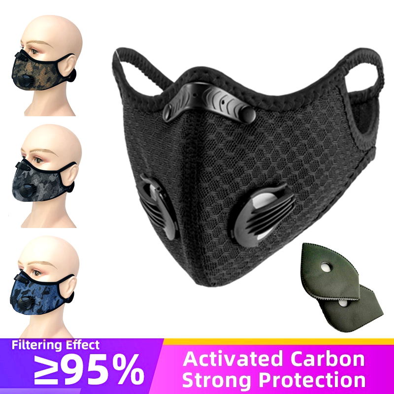 Fast Ship Activated Carbon Filter Anti Pollution Cycling Face Mask Sports Mouth Protection Bicycle Dustproof Bike Training Masks