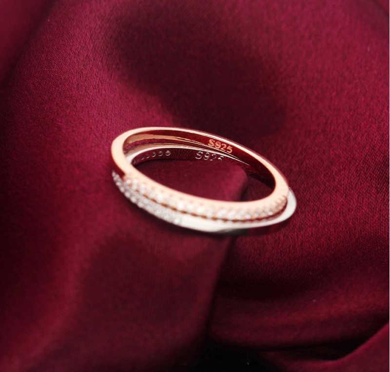 Yanhui clássico 925 prata esterlina alta qualidade círculo claro cz zircão empilhável anéis para presente de jóias de casamento feminino jz002