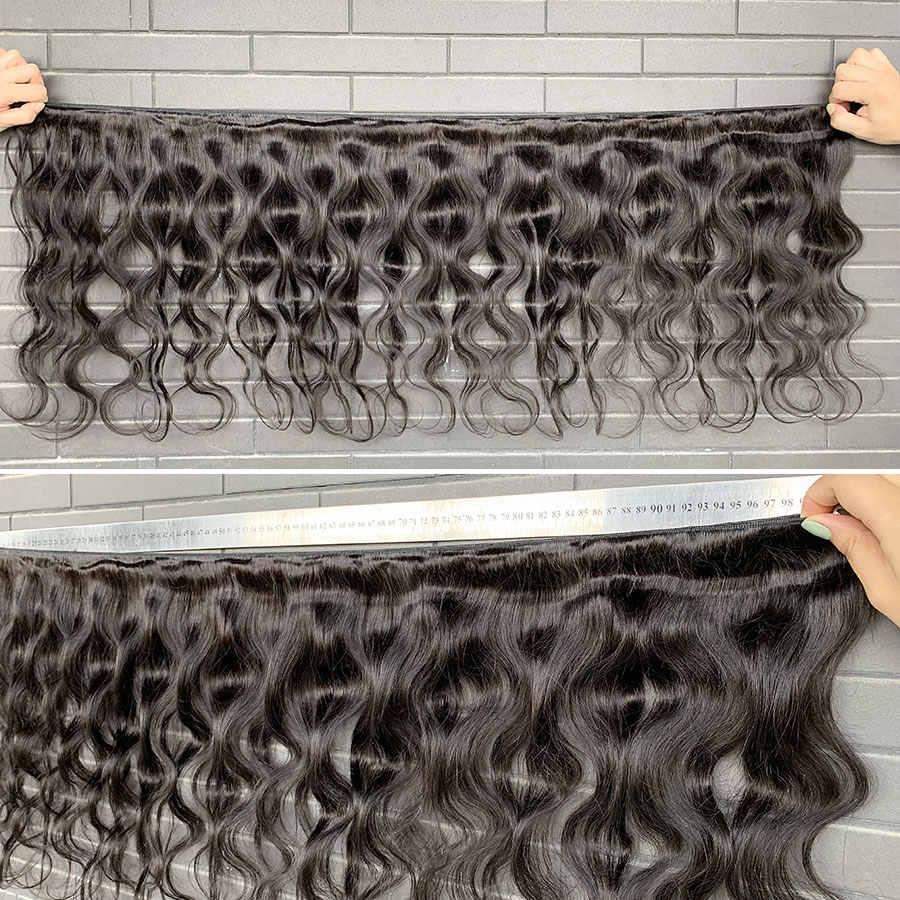 """Rosa beleza # 1b 8 40-40 """"cabelo humano brasileiro tecer onda do corpo 3 4 pacotes com fechamento frontal do laço remy cabelo 28 30 32 34 40 Polegada"""