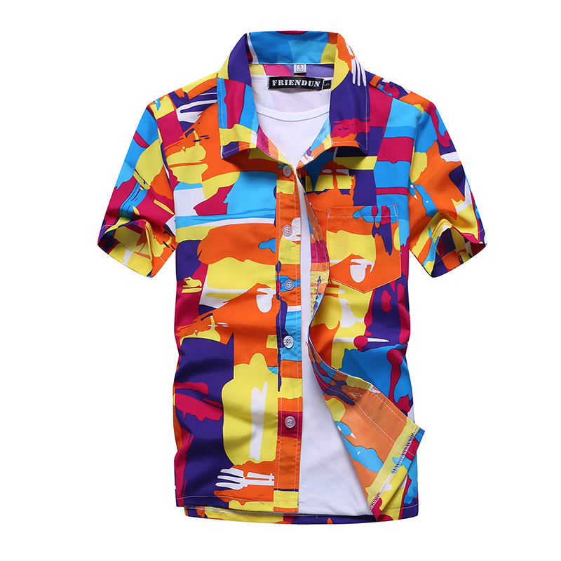Summer Men's Beach Shirts Short Sleeve Hawaiian Printed Shirts Fast Dry Turn Down Collar Loose Blouse For Holiday Oversized 5XL