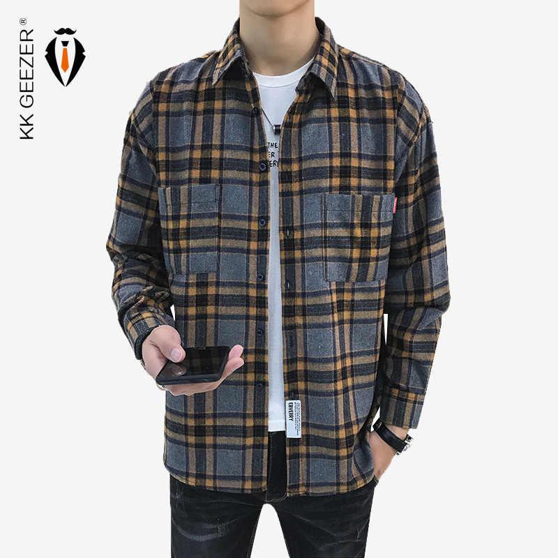 남성 셔츠 격자 무늬 플란넬 셔츠 남성 정장 긴 소매 캐주얼 슬림 맞는 비즈니스 디자이너 고품질 두꺼운 큰 Dropshipping