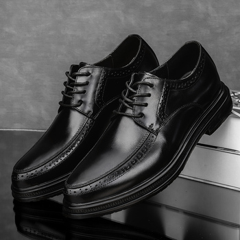 Classic Men Dress Shoes lace up Genuine Leather Carved Italian Formal Oxfords British Style Lace-up oxfords Bullock shoes men