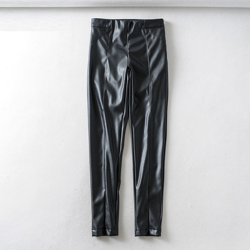 Tangada women white skinny PU leather pants stretch zipper female autumn winter pencil pants trousers 6A04 47