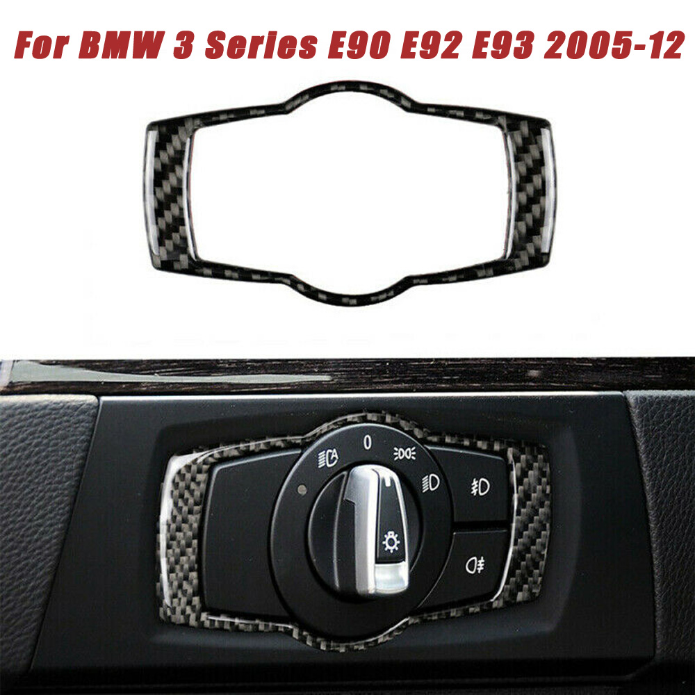 <font><b>Carbon</b></font> <font><b>Fiber</b></font> Car <font><b>Interior</b></font> Headlight Switch Frame Trim Decorative Sticker For <font><b>BMW</b></font> 3 Series <font><b>E90</b></font> E92 E93 2005-2012 image