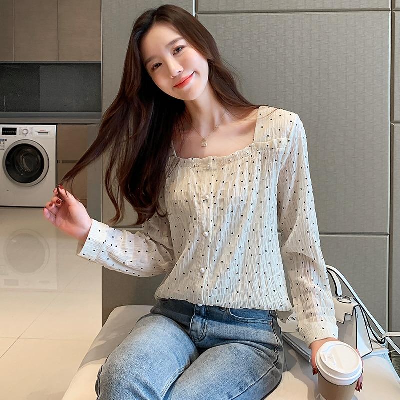 Korean Fashion Chiffon Women Blouses Polka Dot Womens Tops and Blouses Autumn White Women Shirts Plus Size XXL Ladies Tops in Blouses amp Shirts from Women 39 s Clothing