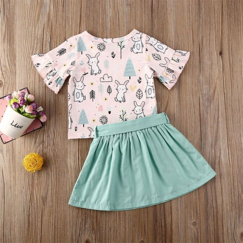 Toddler Infant Baby Girls Easter Rabbit Printed Clothing Sets Dress Ruffles Sleeves Bowknot Skirt Outfits Set