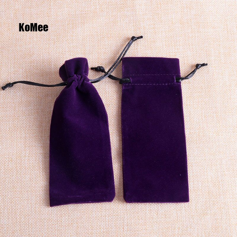Hot Purple Long Velvet Bags 6x15cm 5pcs/lot Drawstring Gift Bags Fit Fashion Jewelry Lipstick Christmas Delicate Packing Pouches