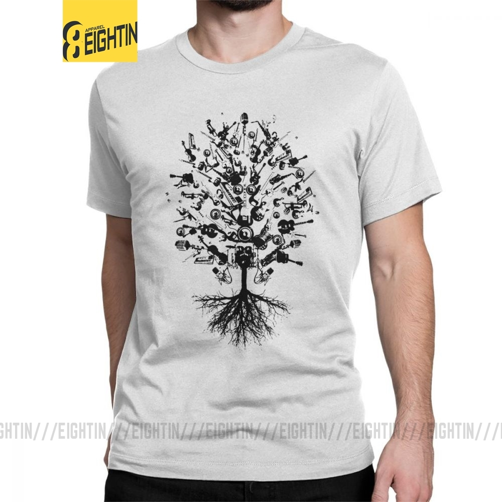 Men Musical Instruments Tree T Shirt Lover Music 100% Cotton Clothes Casual Short Sleeve O Neck Tees New Arrival T-Shirts