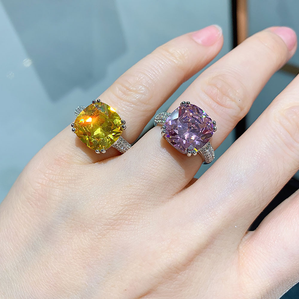 Vintage 12*12mm Pink Quartz Citrine Lab Diamond Rings for Women 925 Sterling Silver Gemstone Wedding Party Bands Fine Jewelry