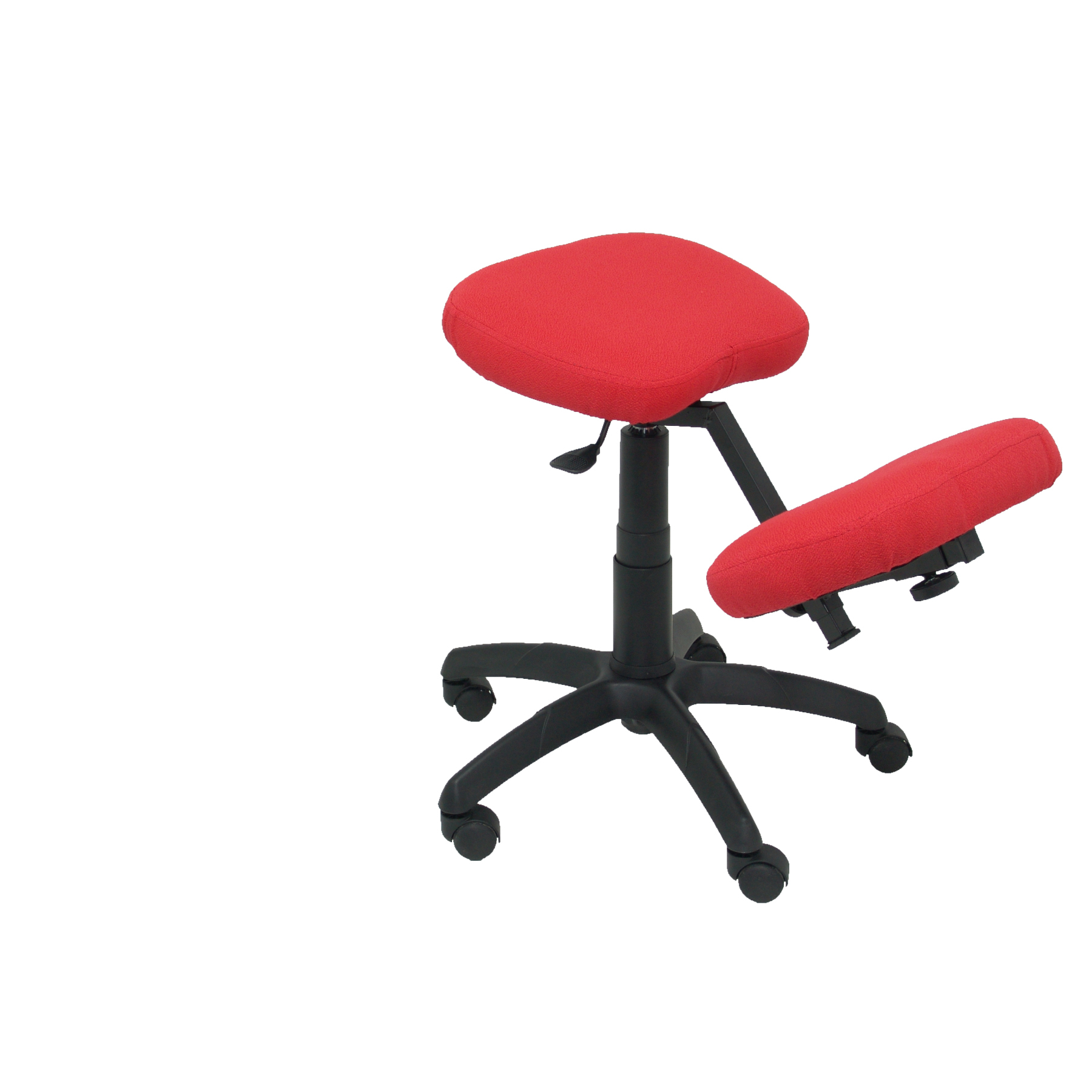 Office's Stool Ergonomic Swivel And Dimmable In High Altitude Up Seat Upholstered In BALI Tissue Red Color (KNEE R