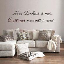Adesivos mon bonheur um moi vinil decalque da parede mural arte papel de parede sala estar decoração casa poster citação francês casa decoração