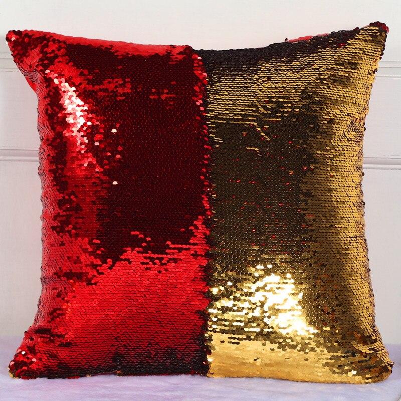 Подушка со стразами в виде русалки, Волшебная блестящая улыбка, декоративная, опт, меняющая цвет, двусторонний, в стиле пэчворк, однотонный чехол для подушки - Цвет: 16