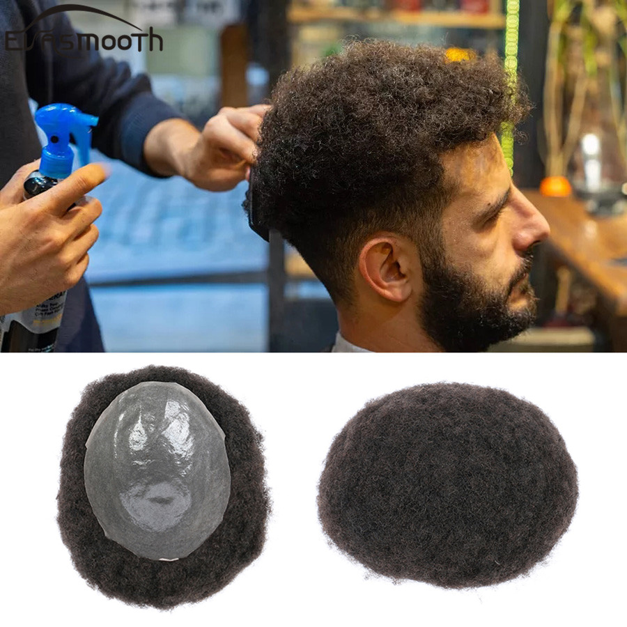 Men Afro Wig Africa Hair Extension For Men Toupee Pu Male Wig Kinky Curly Wig Men Toupee Natural Human Hair Replacement System