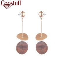 Vintage Wooden Dangle Round Pendientes Earrings for Women Fashion Jewelry Female Hanging Statement Silver Drop Earrings Gifts vintage round wooden dangle earrings for women orange pendientes wholesale female hanging statement dangle earrings 2020 gifts