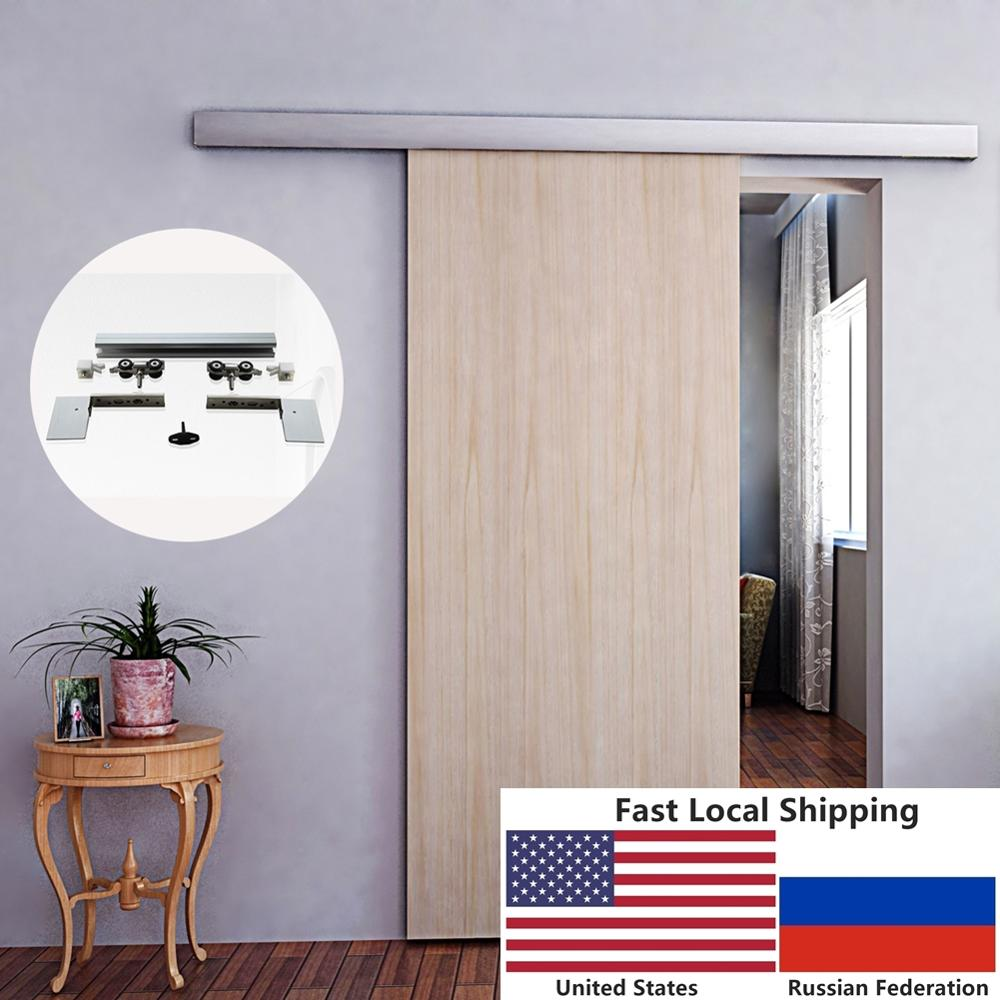 6.6 FT Aluminium Alloy Brushed Interior Wood Barn Sliding Door Hardware Hidden Track With Decorative Cover