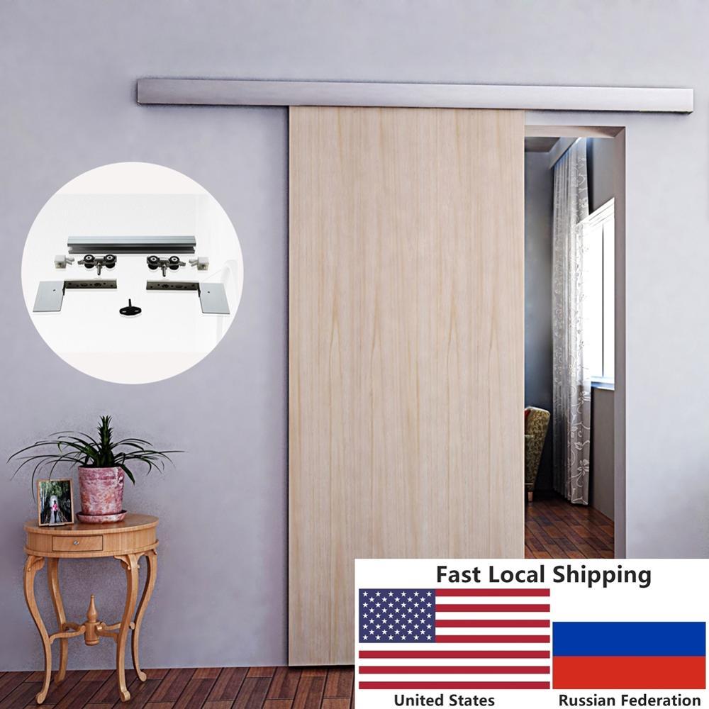 Voie cachée de matériel de porte coulissante en bois de grange intérieure balayée par alliage d'aluminium de 6.6 pieds avec la couverture décorative