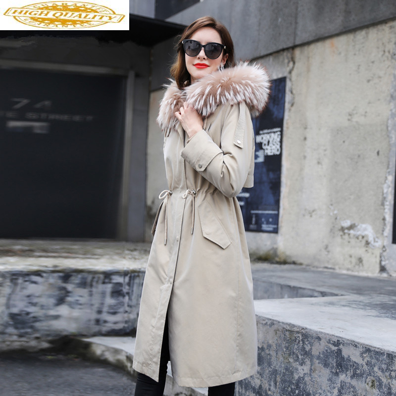 2020 Real Fur Coat Female Rabbit Fur Liner Warm Parka Winter Jacket Women Raccoon Fur Collar Korean Long Jackets MY3982