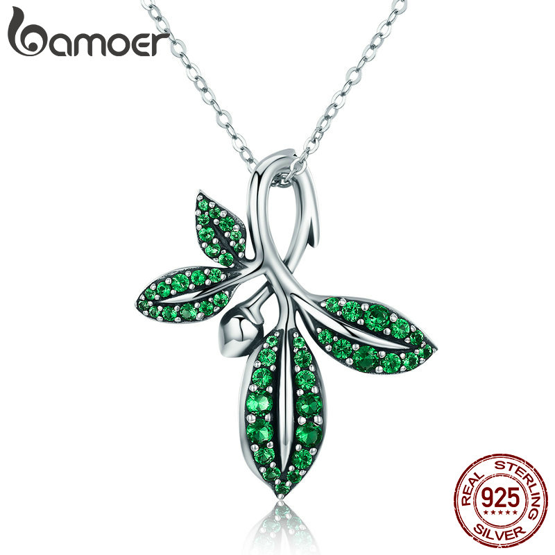 BAMOER High Quality 925 Sterling Silver Summer Collection Tree Leaves Pendant Necklace For Women Sterling Silver Jewelry SCN226