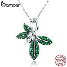 BAMOER haute qualité 925 en argent Sterling Collection dété arbre feuilles pendentif collier pour femmes en argent Sterling bijoux SCN226