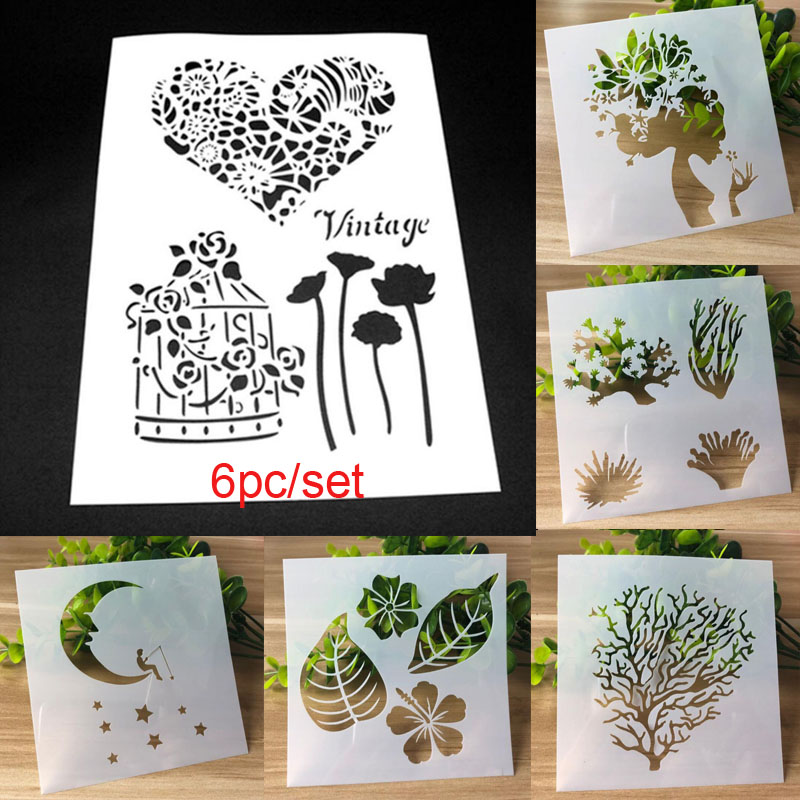 6pc/set Template Tree Painting Stencil For Scrapbooking Stamp Embossing Card DIY Craft Plastic Decorative Crafts Templates