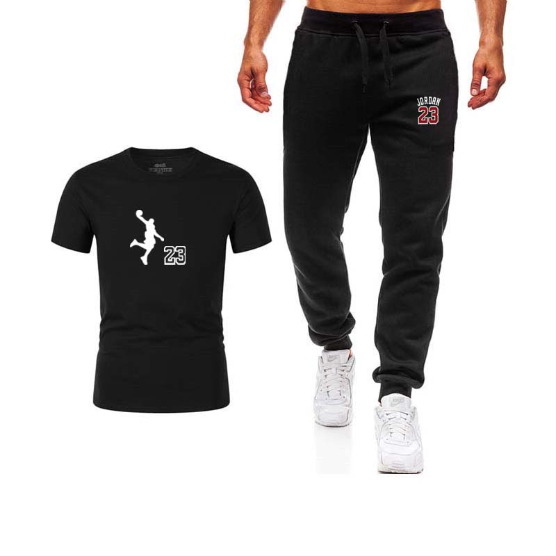 Summer Mens Sport Suit Two Piece Set Outfits T-shirt Track Pants Casual Clothes Sweatsuit Jordan 23 Tracksuit Cotton Sportswear