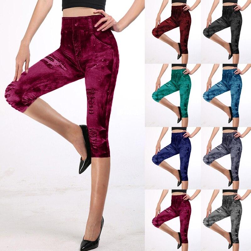 Fitness Push Up Leggings 3/4 Lady's Pants Women High Waist Super Elastic Slim Plus Size 3XL Short Leggins |Leggings| - AliExpress