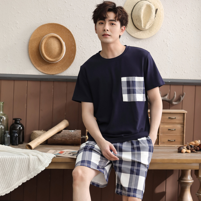 Men's Pajama Sets 2020 New Arrival Fashion Pyjamas 100% Cotton Good Quality Home Wear Loose Comfort Night Sleepwear Summer Suits