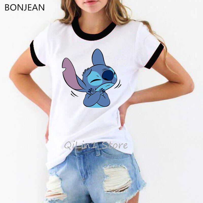 Lucu Kaos Camiseta Mujer Lilo Stitch Vogue Tshirt Wanita Pakaian 2019 Harajuku Ulzzang Kemeja Kartun Cetak T-shirt Wanita