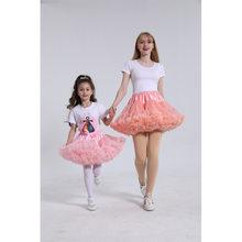 Cor sólida pai-criança traje ballet crianças pettiskirt menina do laço macio saias da menina princesa tule festa de dança do bebê tutu saia