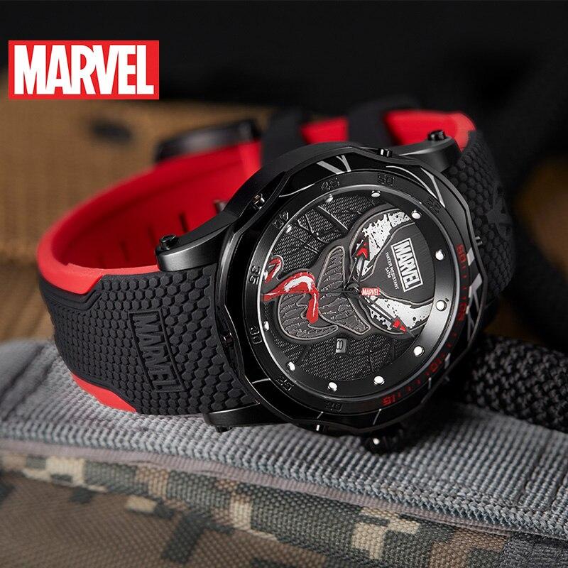Marvel Avengers venin hommes 5ATM montre étanche acier inoxydable Silicone bande homme Sport horloge à la mode armée Reloj noir Super héros - 5