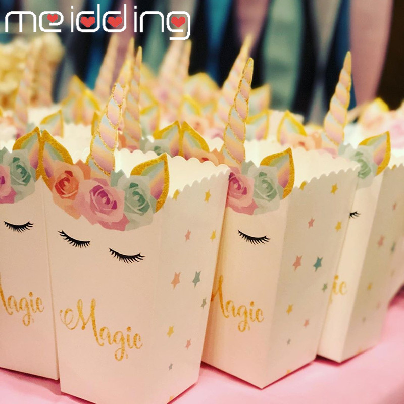 Unicorn Party Supplies Paper Popcorn Box Gift Box Candy Cookies Bags Unicorn Party Kids Favors Paper Plates Cups Kits