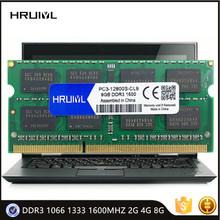 Pamięć laptopa HRUIYL DDR3 1066 1333 1600MHZ 2G 4GB 8GB SODIMM do notebooka pamięć Ram Sdram DDR3L 12800S RAM oryginalny Chip tanie tanio 1600 MHz CN (pochodzenie) PC3-8500 PC3-10600 PC3-12800 PC3L-12800 5-5-5-15 1 5VV 1066MHZ 1333MHZ 1600MHZMHz 1 35V For all laptop notebook