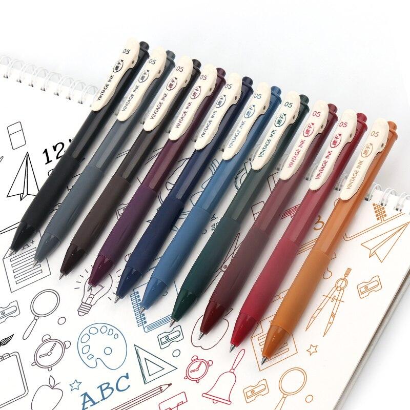Быстросохнущая Ретро Цвет гелевыми чернилами 0,5 мм Винтаж ручки для журнала
