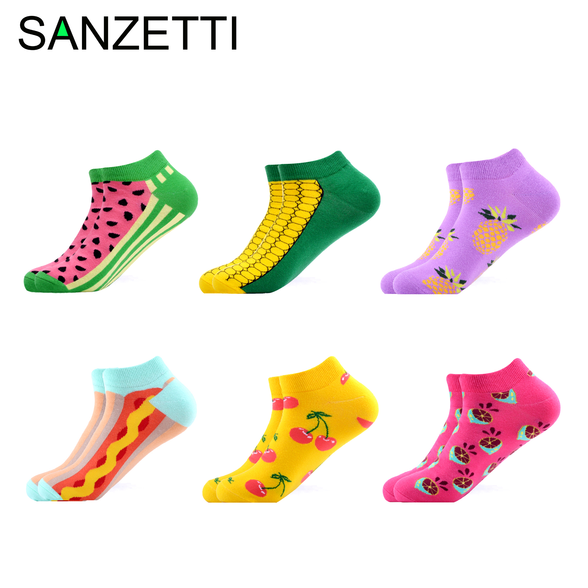 SANZETTI 6 Pairs/Lot Women Colorful Summer Casual Combed Cotton Ankle Socks Happy Hip Hop Harajuku Short Socks Dress Boat Socks