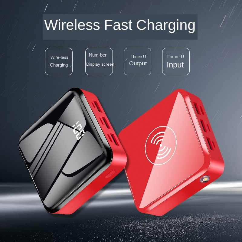 30000mah High Capacity Wireless Power Bank Mini Power Bank with Triple USB 2.1A Fast Charging LED Display Powerbank