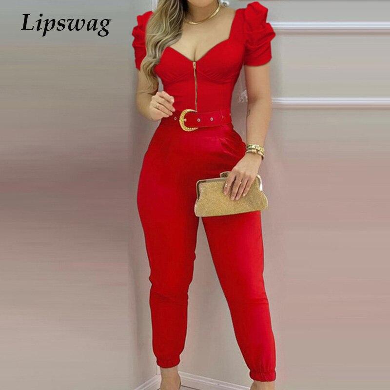 Spring Puff Shoulder Zip Women Jumpsuit 2021 Summer Deep V Neck Short Sleeve Shirt Overalls Elegant Office Lady One Piece Romper